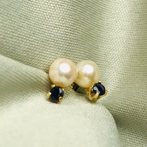 Antique pearl and blue sapphire earrings